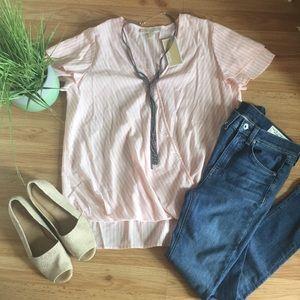 Pink Striped Michael Kors Ruffled Sleeve Top